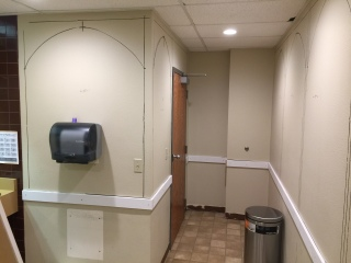 The beginning stages of a bathroom remodel.
